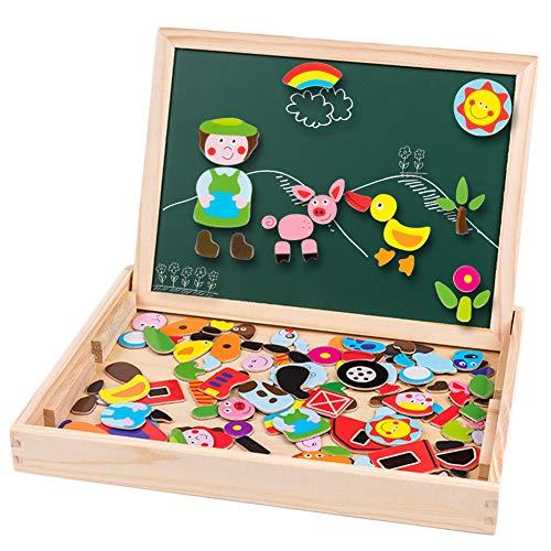 MOVEONSTEP Puzzles Rompecabezas Magnéticos de Madera Juguete Educativo para Niños 3+ Años, Tablero de Dibujo Doble Cara, 159 Piezas de Letras + Números + Figuras