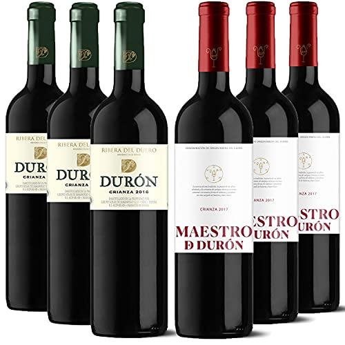 Durón – Vino Tinto Crianza 2016 y 2017 – D.O. Ribera del Duero, Variedad Tempranillo, 12 meses en barrica – Caja de 6 botellas x 750 ml – Total: 4500 ml