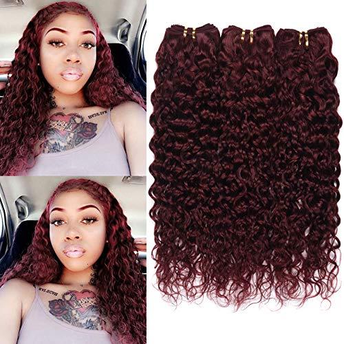 XCCOCO Burgundy Water Wave Weave 3 Bundles 18 20 22inch Colored 99j Wet Wavy Human Hair Weave 9A Brazilian Curly Hair Bundles,100g/Bundles
