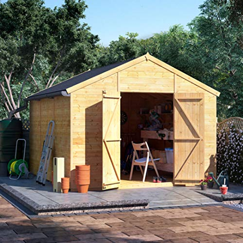 BillyOh Expert Tongue and Groove Apex Workshop | Garden Storage Shed | Floor, Roof and Felt Included | Windowed or Windowless Options- Multiple Sizes (12x10 Windowless)
