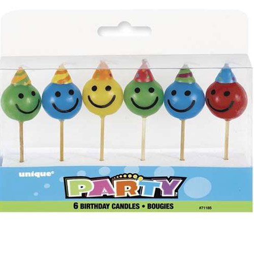 Unique 6 Mini-Kerzen * Smileys * auf Holzhalter für Party und Geburtstag // Kerzen Kuchen Torte Deko Candle Smiley Happy Face