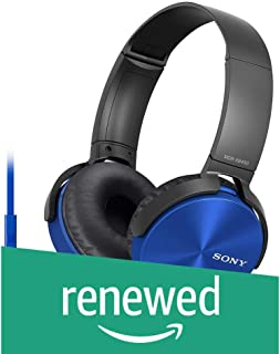 (Renewed) Sony Extra Bass MDR-XB450AP On-Ear Headphones with Mic (Blue)
