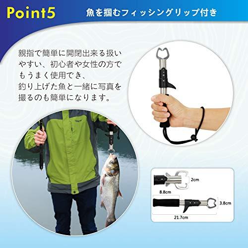 Tansoulバッカン釣りバケツ折りたたみ40cmフィッシュグリップ付き魚掴み器釣り具アウトドアに最適