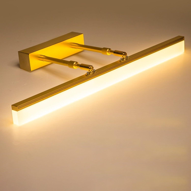 Spiegelleuchten LED, Wall Washer, Waschbecken Leuchten, wasserdichte Nebelscheinwerfer, Edelstahl-Mode-Spiegel Cabinet Lights, Wei, 60cm, 14W, Gold (Größe   60cm 14W warm Weiß light)