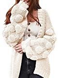Yacooh Womens Chunky Open Front Knitted Sweater Cardigan Casual Long Sleeve Ball Pompom Sleeve Loose Coats