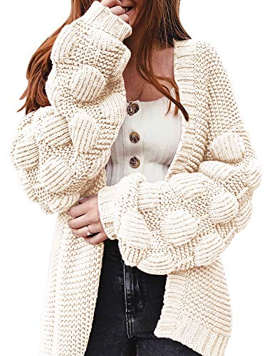 Ferbia Women Oversized Cardigan Knitted Cute Chunky Sweaters Wrap Long Fall Pom Pom Open Front...