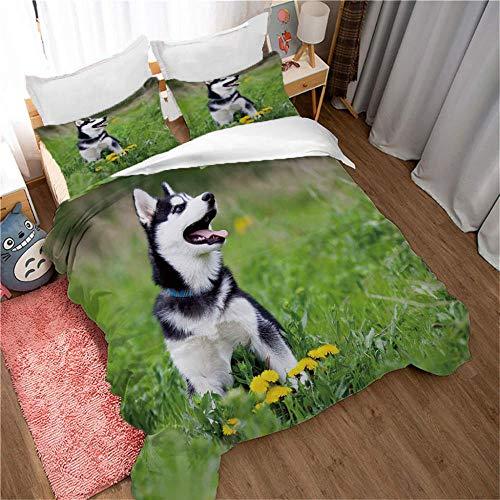 GenericBrands 3-piece bedding Lawn husky dog - 260x240cm Duvet Cover Set 3 Piece Duvet Set Bedding Set for Double King Single Bed with 1 Quilt Case + 2 Pillowcases