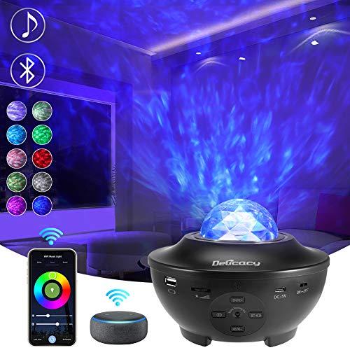 Delicacy WiFi Sternenlicht Projektor, Rotierende Ocean Wave Nachtlicht Projektor mit Bluetooth, LED Nebelfleck Lampe mit Timer & Fernbedienung, Kinder Erwachsene Theaterraum Zimmer Dekoration