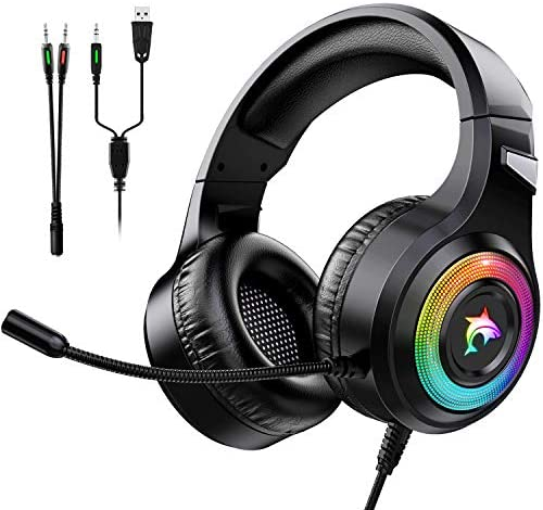 Gaming Headset Xbox One Headset with Stereo Surround Sound PS4 Gaming Headset with Mic LED Light product image