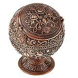 Hellery Vintage Mini Runde Kugel Mit 3D Handgefertigten Gestempelten Schmuck Aschenbecher Box - Rote Bronze