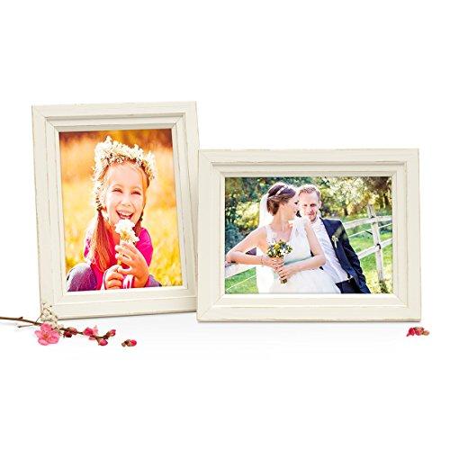 Photolini Set di 2 cornici per Foto in Stile casa di Campagna Shabby-Chic Bianco da 13x18 cm in Legno Massiccio/portafoto/cornici per Ritratti