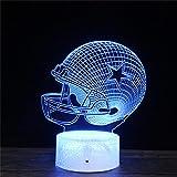 Lampe illusion 3D en forme de casque de rugby B 3D - 16 couleurs changeantes - Cadeau pour enfants et décoration de chambre