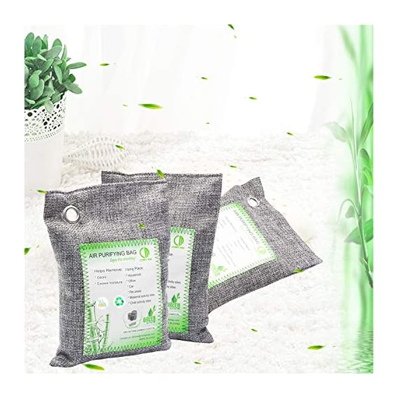 Activated Bamboo Charcoal Bags, Natural Air Purifying Fresheners,Moisture Remove for Home, Car, Closet, Bathroom (8 x… 7 NATURAL AIR PURIFIER-->>100% activated bamboo charcoal contains millions of tiny porous holes that naturally absorb and eliminate odors. This makes bamboo charcoal the perfect natural air freshener and odor remover. SAFE-->>Our activated charcoal air purifier bags are safe and effective, which has no fragrance or chemicals. They can purify your space air in the most natural, 100% safe way! It absorbs moisture and unpleasant odors like a sponge. These natural bamboo charcoal deodorizers are sure to be safe and you can leave it around your pets and your children while no worry for any incidents that might jeopardize their health. WIDE APPLICATIONS-->>The bamboo activated charcoal odor absorber bags has deodorizing and dehumidifying functions and which makes them work efficiently at any time and any place. It can be used in car,gym bag,smelly shoes,pet areas,bedroom,bathroom and fridge. Put the activated charcoal bag in these places, and it can absorb moisture or stink smell quickly and keep air fresh.