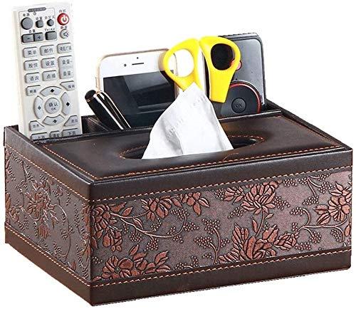 XINKONG Sostenedor del tejido del Hogar multifuncional caja de pañuelos cuadrados control remoto pluma hogar Baño de papel sostenedor de la toalla retro Servilletero - cuero repujado 23.5x16.5x10cm, m