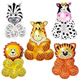 Keymall 50 Pieces Jungle Safari Animal Pattern Balloons Tiger Lion Zebra Giraffe Cow Wild Animals Print Balloons for Zoo Themed Birthday Party Decorations Baby Shower Supplies