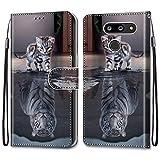i-Case Cárcasa para LG G8 ThinQ 6.1' Protectora Dibujo a Color Funda de Cuero con Tapa Horizontal PU Piel Funda Teléfono Móvil Flip Cover Skin 360 Bumper Case Cover LG G8 ThinQ 6.1',Gato Tigre