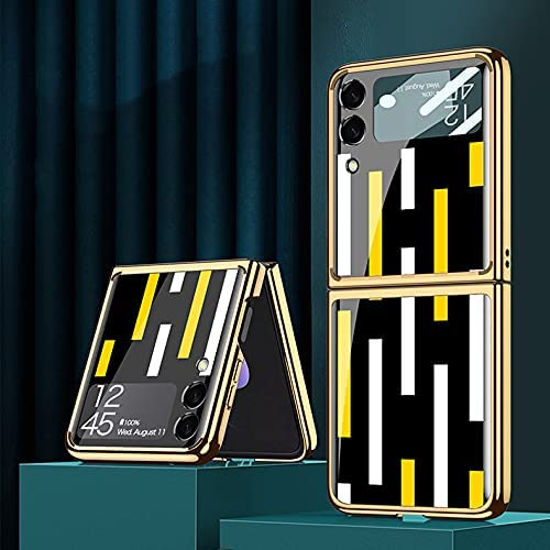DEMCERT for Samsung Galaxy Z Flip 3 5G Glass Case, Ultra Thin Hard 9H Plating Glass Shockproof Color Stripes Phone Cover for Samsung Galaxy Z Flip 3 5G (Black White and Yellow)