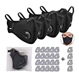 4 x Mundschutz Gesichtschutz mit Atemventil und 24 Aktivkohle Filtern, waschbare und wiederverwendbar für Laufen, Radfahren, Outdoor-Aktivitäten