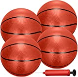 Liberty Imports 4 PCS Inflatable Mini Basketball Toy Replacement Rubber Balls with Pump and Needle for Indoor Toy Miniature Hoop or Sports Training (7 Inch)