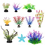 owoda piante artificiali acquario ornamenti kit, piante sintetiche d'arredo per acquario, pianta in plastica artificiale da 10 pezzi, per la decorazione di acquario e fish tank