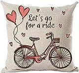 Pintado a mano pintura de tinta acuarela rosa globo de bicicleta Love Let's Go for A Ride Funda de almohada decorativa Chion Home Sala de estar sofá cama coche algodón lino cuadrado 45 x 45 cm