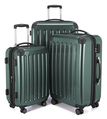 HAUPTSTADTKOFFER - Alex - 4 Doppel-Rollen 3er Trolley-Set Rollkoffer Reisekoffer, (S, M und L) Koffer-Set, 75 cm, 235 L, Waldgrün