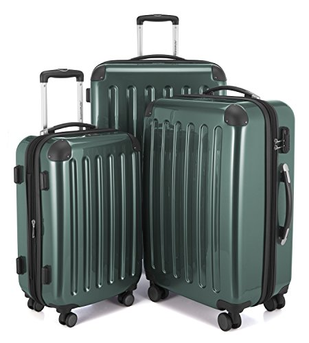 HAUPTSTADTKOFFER - Alex - Set of 3 Hard-side Luggages Trolley Suitces Expandable, (S, M & L), dark green