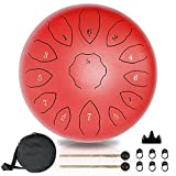 Tongue Drum 13 Notes 12 Inch, Hantop Steel Drum Handpan Drum with Travel Bag, Mallet, Knocking Finger Picks and Music Book, Percus Mind Healing Yoga Meditatio Kids Adults Beginner Gift