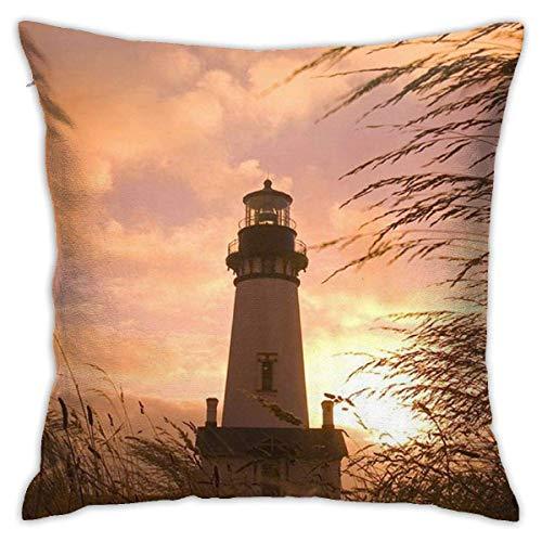 Asa Dutt528251 Funda de Almohada Cuadrada Fundas de cojín LighthouseLighthouse con Sunset Funda de Almohada Decorativa para sofá