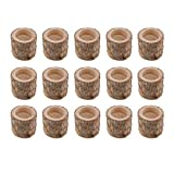 homozy Wood Timber Pile Candle Holder, 15 Pcs Flameless Candles Stand Candlestick Log Flowerpot for Home Wedding Birthday Party Favors Ornament Decor