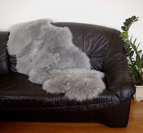 HEITMANN australische Doppel Lammfelle aus 1,5 Fellen grau gefärbt, vollwollig, 30 Grad waschbar, ca. 140x68 cm