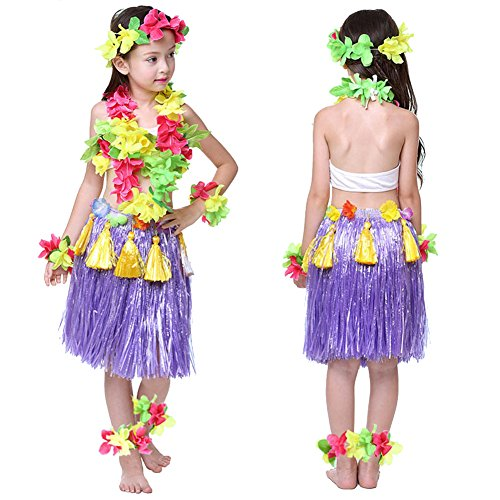 Falda de hierba hawaiana para niños y niñas, de colores, con diseño de flores, para fiesta de playa, 40 cm, 8 piezas Morado Morado ( Talla única
