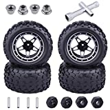 Hobbypark 12mm Hex 1/10 Scale RC Truck Tires and Wheels Aluminum Metal Rims Foam Inserts for Traxxas Rustler 4x4 VXL Stampede 4x4 / 2WD,Redcat Volcano EPX Pro S30 Blackout XTE Monster (4-Pack)