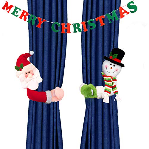 MSDADA Christmas Curtain Buckle Tieback Santa & Snowman, Window Decorations Christmas Cartoon Doll Curtain Bedroom Living Room Curtain Hook Fastener Buckle Clamp Home Decor (2 Pack+1 Hanging Banners)