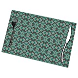 N/A Place Mats,Dining Table Placemats Sets of 6 Heat Resistant Washable Kitchen Table Mats,Lennox Vintage Deco Emerald Teal Charcoal Pattern