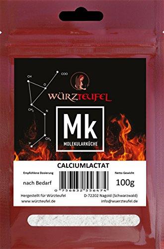 Calciumlactat, Kalziumlactat, E327. Höchste Reinheit. Zum festigen von Natriumalginat und Pectin. Molekulare Küche. Beutel 100g.