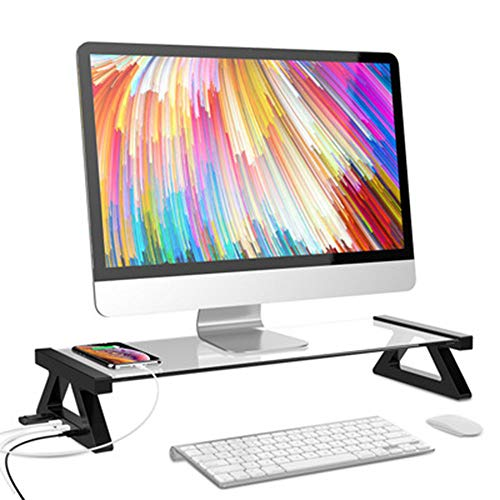 LIABC Display stand riser, 4-port USB 3.0 hub tempered glass display stand, high-speed data transfer station manager laptop stand keyboard tray, with USB cable for PC laptop MacBook