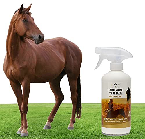 Spray Protección Natural, 500ml - Repelente específico contra moscas, tábanos, avispas, mosquitos, mosquitos etc - Extractos naturales de clavel, geranio, citronela - para caballos, Linea 101