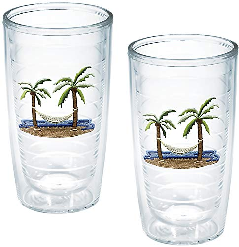 TERVIS Tumbler, 16-Ounce, 'Palm Trees and Hammock', 2-Pack , Clear - 1035967