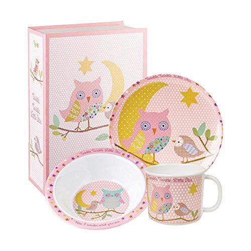 Queens Little Rhymes Juego de 3 Cajas de Regalo de MELAMINA Rosa Twinkle, Multicolor, 16 x 16 x 16 cm