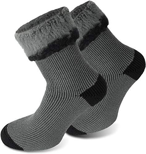 Polar Husky® 3 Paar Sehr warme Socken mit Vollplüsch und Schafwolle/Nie wieder kalte Füße! Farbe Extrem Hot – Grau-Schwarz Größe 39-42