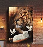 Torenio Jesus Lion and Lamb Poster, Jesus Hand Reaching Out from Heaven, Lost Sheep & Lion, Easter Jesus, Easter Lamb, Jesus Save Us Wall Art #2 (No Frame)