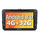 Pumpkin Android 9.0 Radio para VW con DVD, Autoradio 2 DIN GPS de 4GB + 32GB soporta Control Volante, Bluetooth, Mirror-Link, USB, WiFi, con 8' Pantalla Táctil