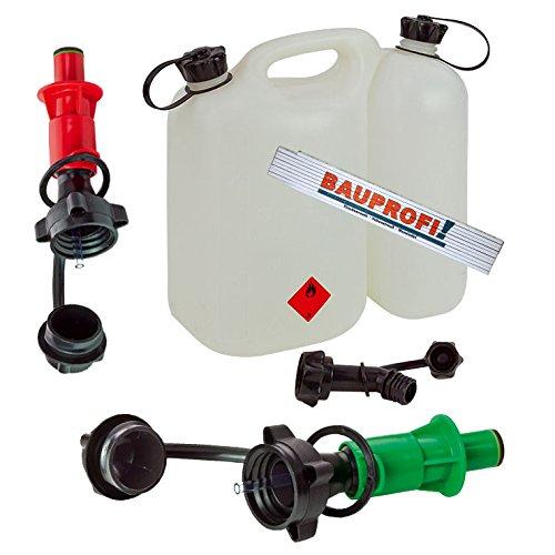 Doppelkanister 5,5+3 Liter natur (klar) inkl. Ausgiesser und 2x Sicherheitseinfüllsysteme (grün + rot) mit originalem BAUPROFI-Maßstab