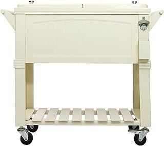 Permasteel 80 Quart Portable Rolling Patio Party Cooler in Antique White/Cream