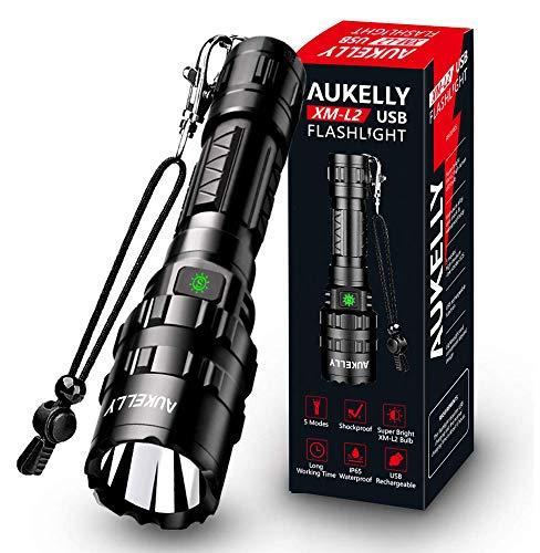 AUKELLY LED Linternas Recargable Linterna L2 Tactica Linterna Alta Potencia,con 5 Modos,Alta Potencia LED Linternas Camping, USB Linterna LED Recargable Linterna para Ciclismo, Con 18650 Batería
