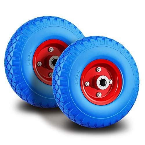 Forever Speed Rueda de poliuretano 3.00 - 4 ruedas de rueda para carretilla, neumático de goma de goma universal de carretilla PU en Llanta de acero negro con 80 kg de carga 260 x 75 mm, 2 pcs
