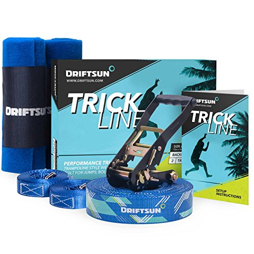 Driftsun Slack-Line Trick-Line Complete Kit with Back-Up Line and Tree Guard Protectors, Easy to Set-Up and Includes Carry Bag, 50-Foot