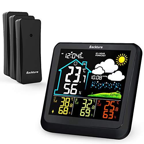BACKTURE Wetterstation Funk mit 3 Außensensor, Farb LCD Touchscreen mit Hintergrundbeleuchtung/Temperatur, Luftfeuchtigkeit/ 24 Stunden Vorhersage/Komfortanzeige/Wecker für Den Büro Hausgarten
