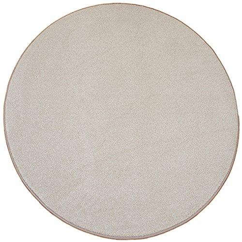 havatex Luxus Velours Teppich Buffalo rund - elde melierte Farbauswahl | schadstoffgeprüft | robust & pflegeleicht | ideal für Wohnzimmer Schlafzimmer, Farbe:Beige, Größe:300 cm rund